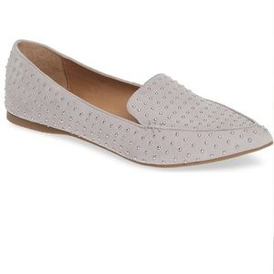 NEW Steve Madden Feather Studded Loafers in Gray
